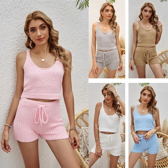 Womens Pure Color Two-piece Pajamas