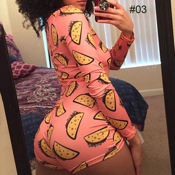 Womens Pajama Playsuit Button Skinny Cartoon Print Pants V-neck