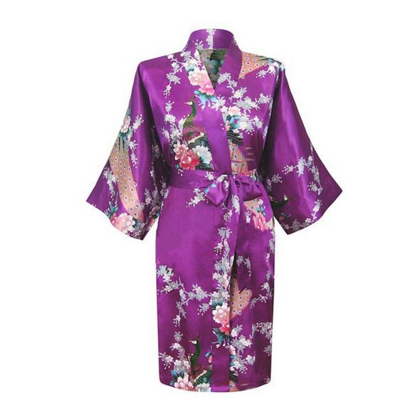 Womens Solid  silk Robe Satin Pajama Kimono Bath Gown Nightgown