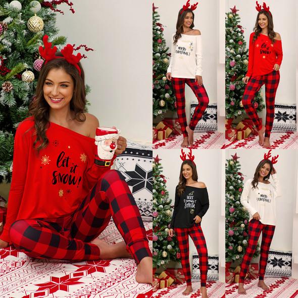 Womens Letters Printed Plaid Long Pants Casual Pajamas Set