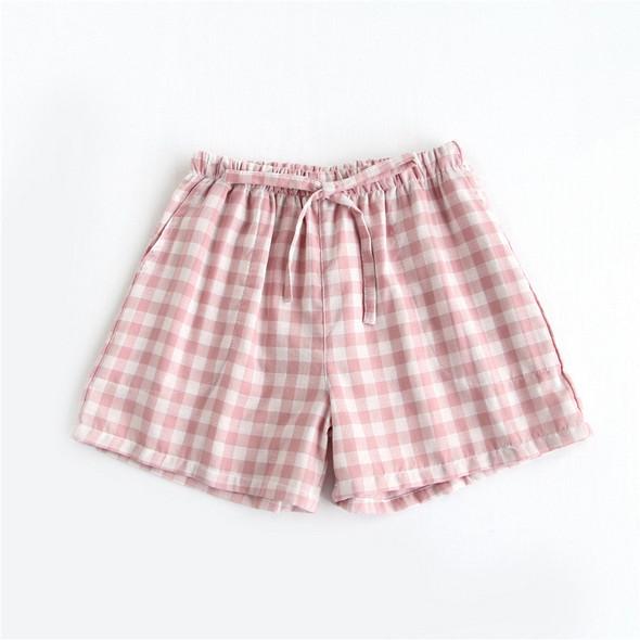 Womens gauze shorts Japanese style elastic waist casual lattice pants