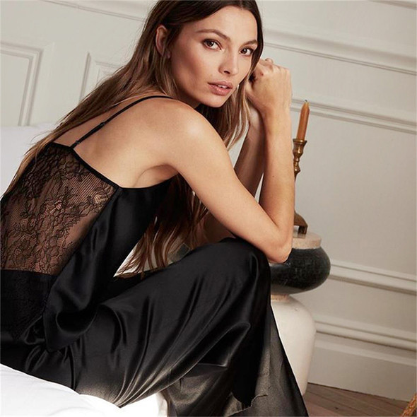 womens open back lace pajamas set