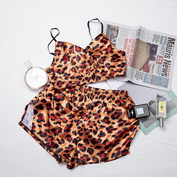 Womens Sexy Pijamas Animales V Neck Crop Top Corset Satin Pajamas