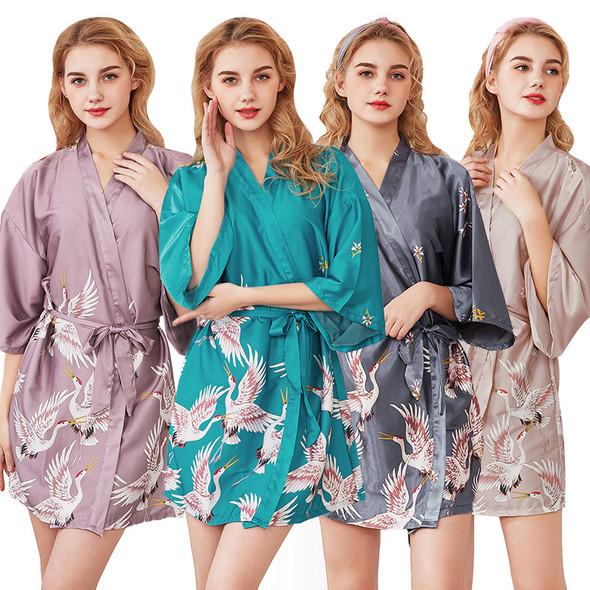 Womens Ice Silk Satin Sleepwear Summer Pajamas