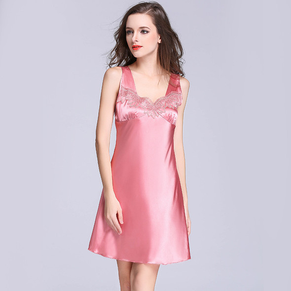 Womens Silk Ice Silk Lace Sexy Nightdress