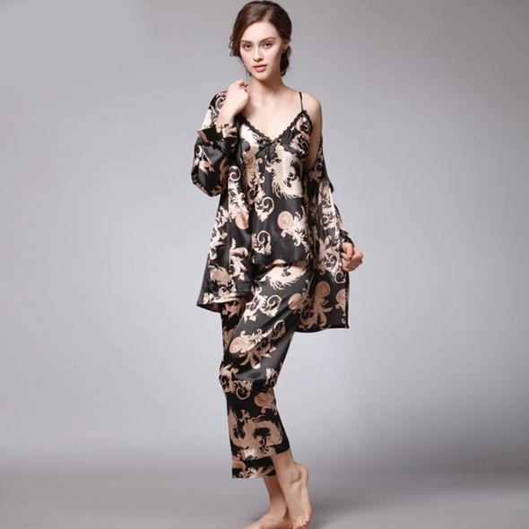 Womens Silk Dragon Robe Printed Ice Silk Three-piece Pajamas