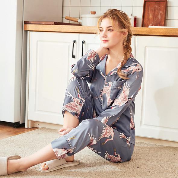Womens Two-piece Silk Ice silk Pajamas Long-sleeved Trousers