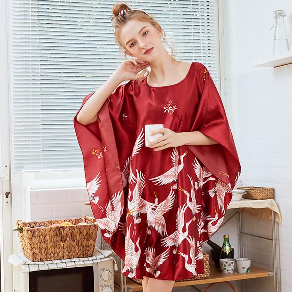 Womens  Ice Silk Bat Sleeve Nightdress