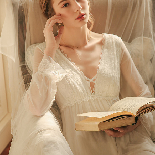 Womens Nightgown Lace Long Nightdress Fashion Sleepwear Fairy