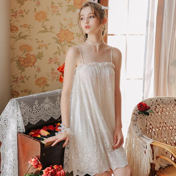 Womens Lace Mesh Sexy See-through Princess Pajamas Dress