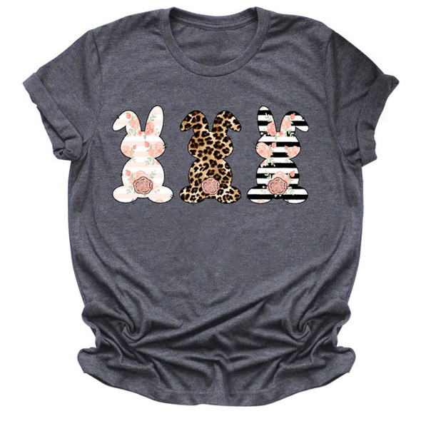 Womens Cute Rabbit Flower Leopard Print Short-sleeved T-shirt