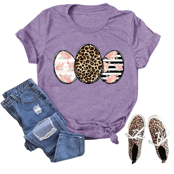 Womens Easter Leopard Egg Top Print T-shirt