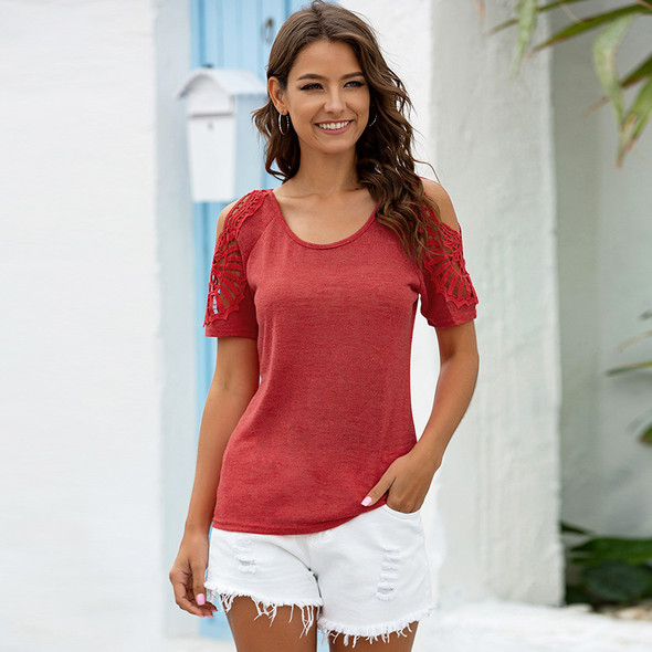 Womens Round Neck Crochet Hollow Solid Color Short-sleeved T-shirt