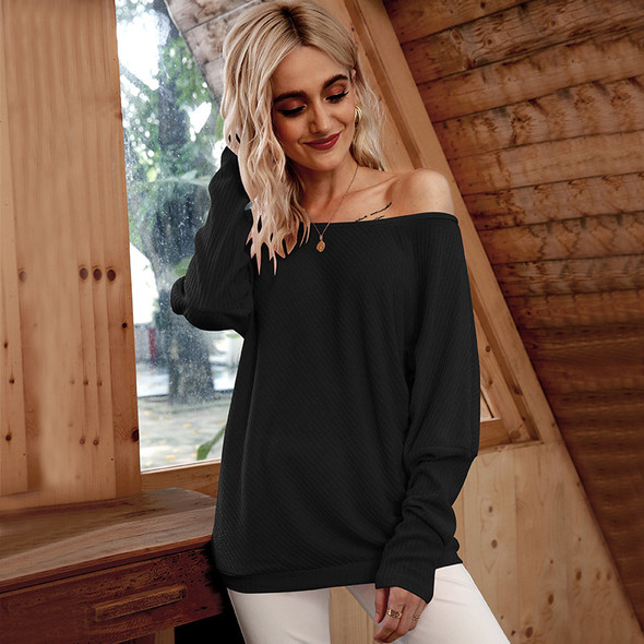 Womens Sexy Strapless Bat Sleeve Threaded T-shirt