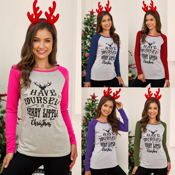 Womens Elk Head Letter Print Long-sleeved T-shirt
