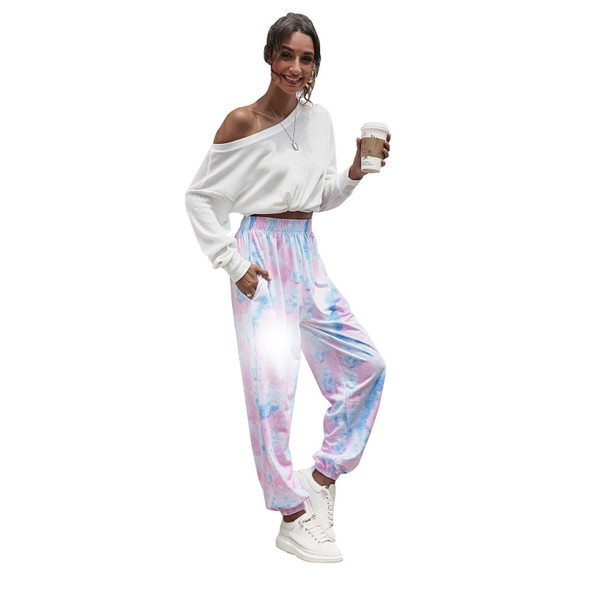 Womens Tie-dyed Casual Sports Basic Sweatpants