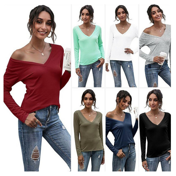 Womens V-neck Solid Color Casual Bottoming Shirt