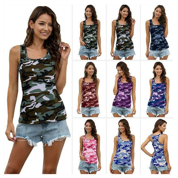 Womens Camouflage Fashion Casual Sleeveless Vest T-shirt