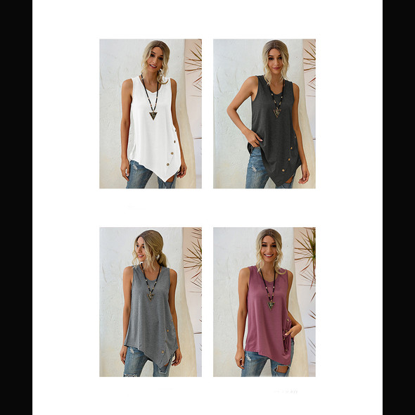 Womens Sleeveless Top Irregular Button U-neck Vest
