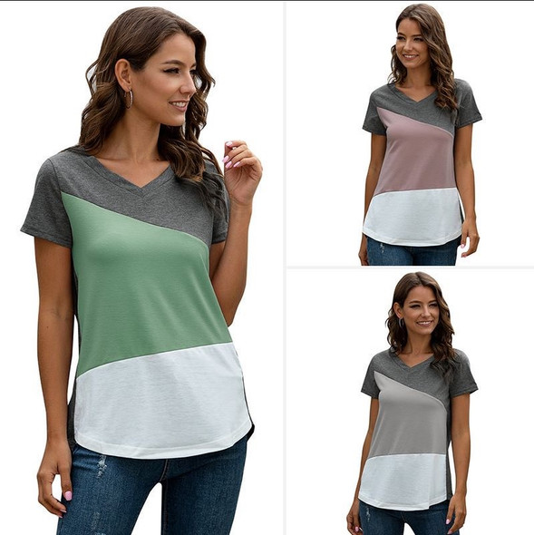 Womens V-neck geometric  Stitching Short-sleeved T-shirt