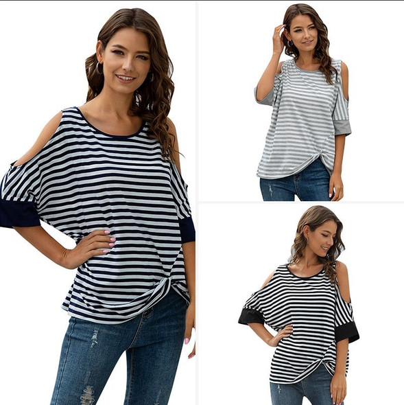 Womens Round Neck Striped Mid-length Loose Irregular T-shirt