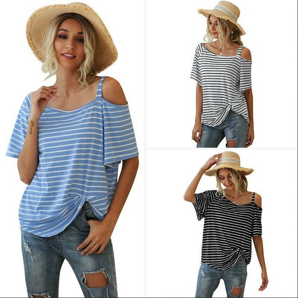 Womens Oblique Collar Wide Striped Knot Short Sleeve T-Shirt