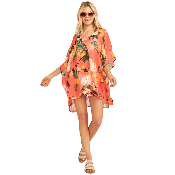 Womens Beach Blouse V-neck Printed Chiffon Shirt