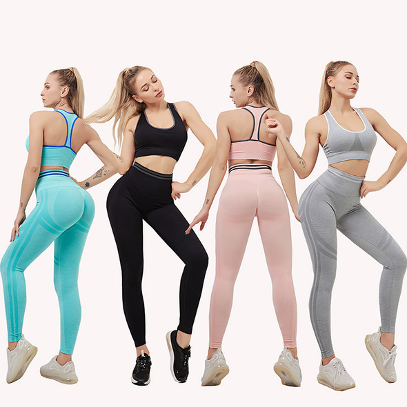High-waist Fitness Suits Hip-lifting Running Yoga Two sets