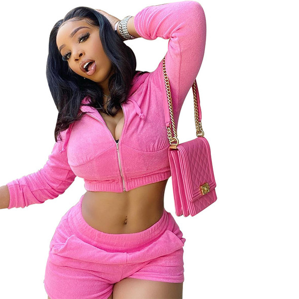 Spring  Zip Suits Pink Casual Sports Shorts Suit