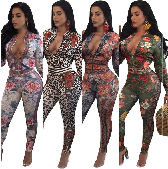 Large Size Sexy Print European American WomenTwo-piece Sets