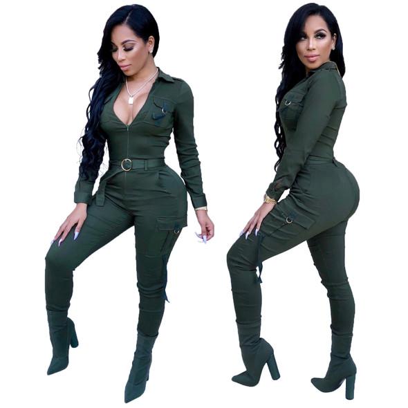 Sexy Sllim Sportswear Solid Color Women Jumpsuit