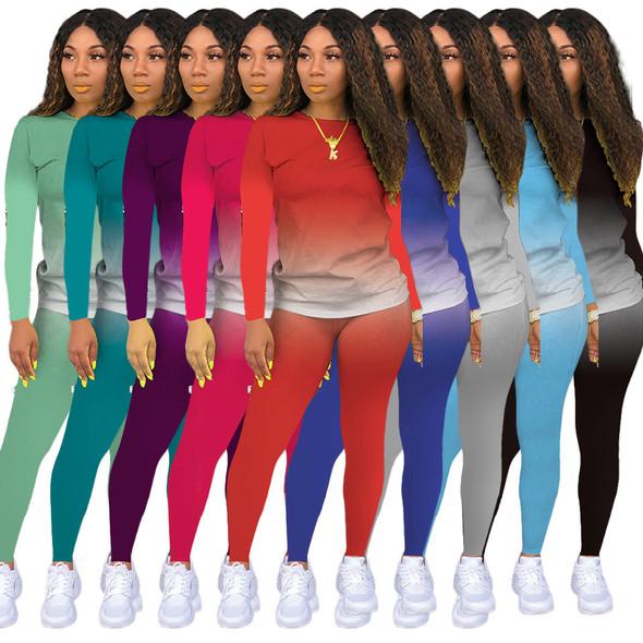 Fashion Gradient Color Women's sports suit