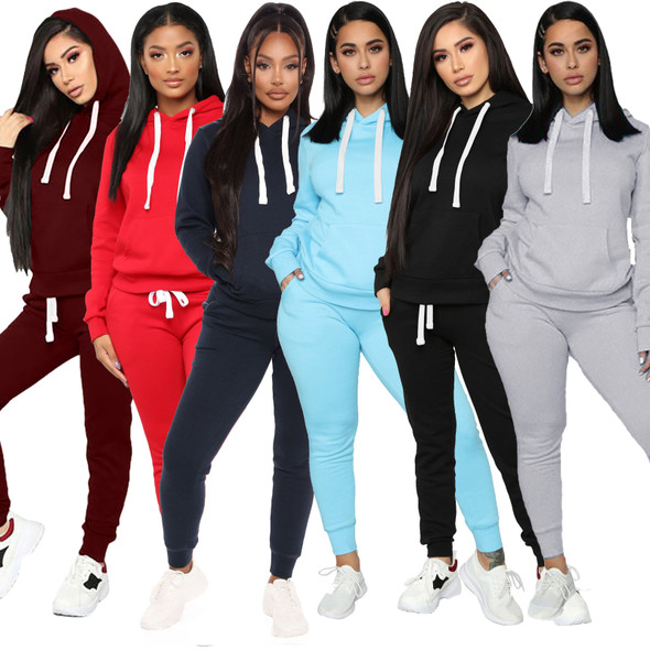 Europe  America Casual Sports Hooded Women Running Sets