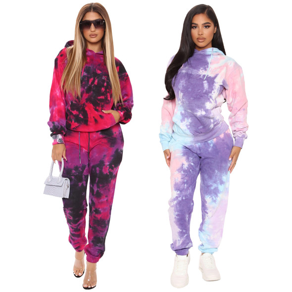Hot Selling  Plus Size Spring Two-piece Tie-dye printed Sports Suit