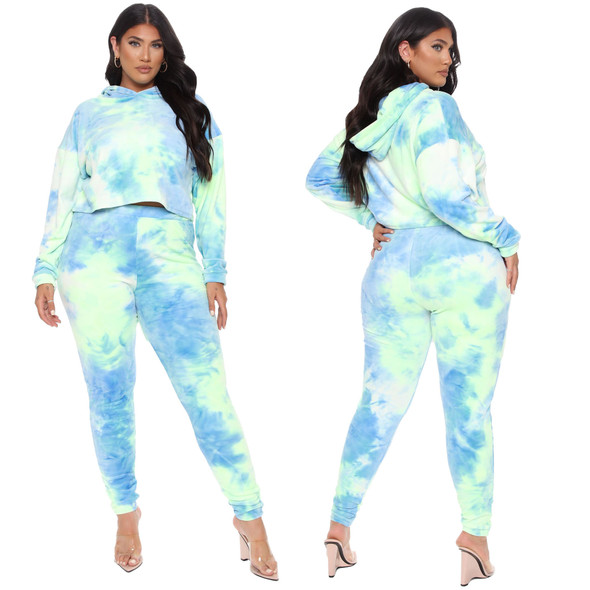 Spring Plus Size Two-piece Suit Tie-dye Hooded Sports Set