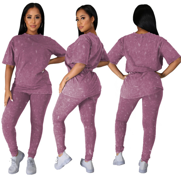 Summer Solid Color Causal Suit Women Running Sets