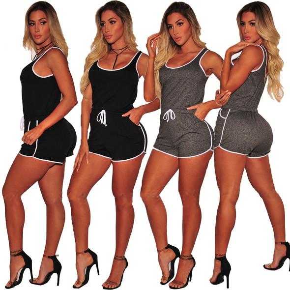 Causal Drawstring Summer Vest Short Suit Plus Size Activewear Sets