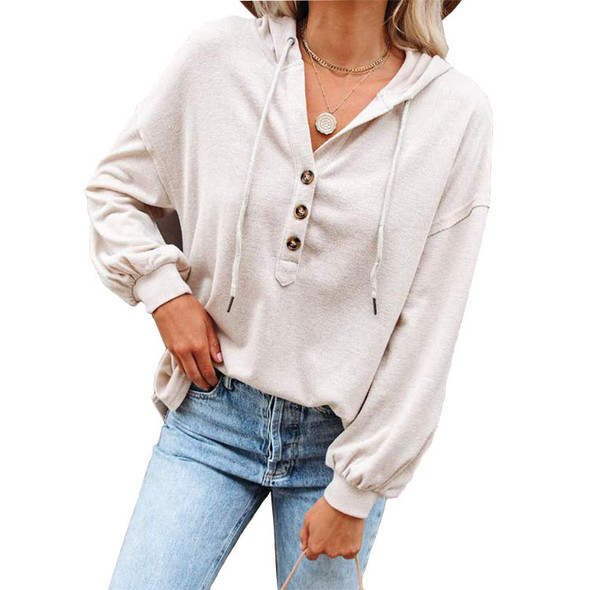 Solid Color Loose Tishirt Women Hooded Sweater
