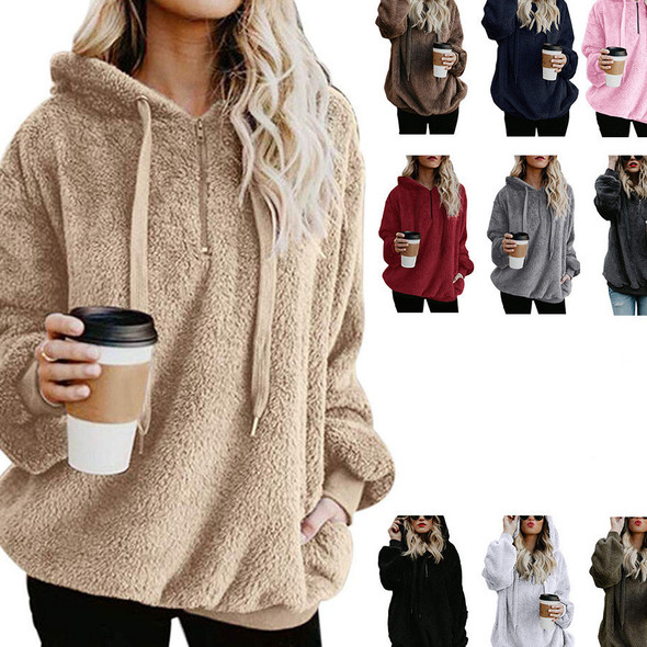 Long Sleeve Hooded Solid Color  Women Fleece Jacket