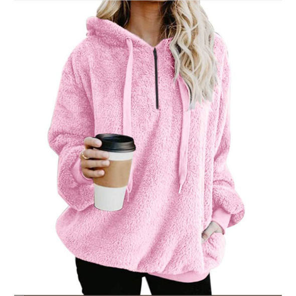 Long Sleeve Hooded Solid Color  Women Fleece Jacket