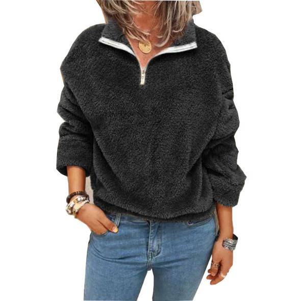 Solid Color Pullover Women's Fleece Sweater