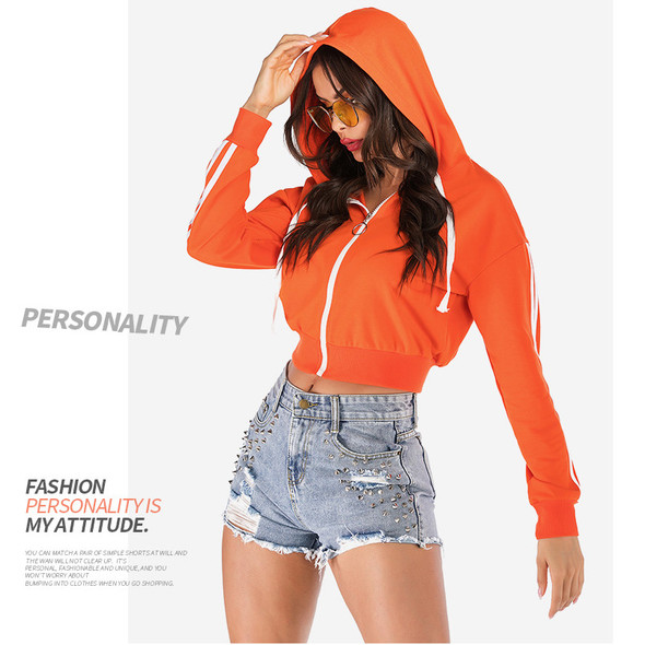 Pure Color Short Suit Women's Hooded Coat