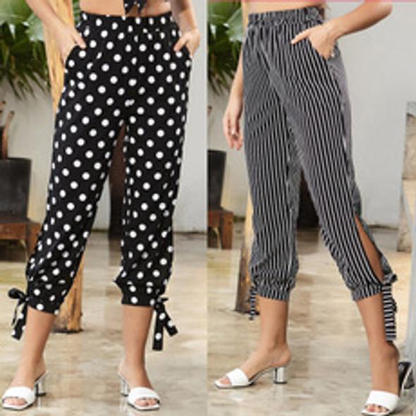 Stripe Cropped trousers Women's High-waist Straight-leg Pants