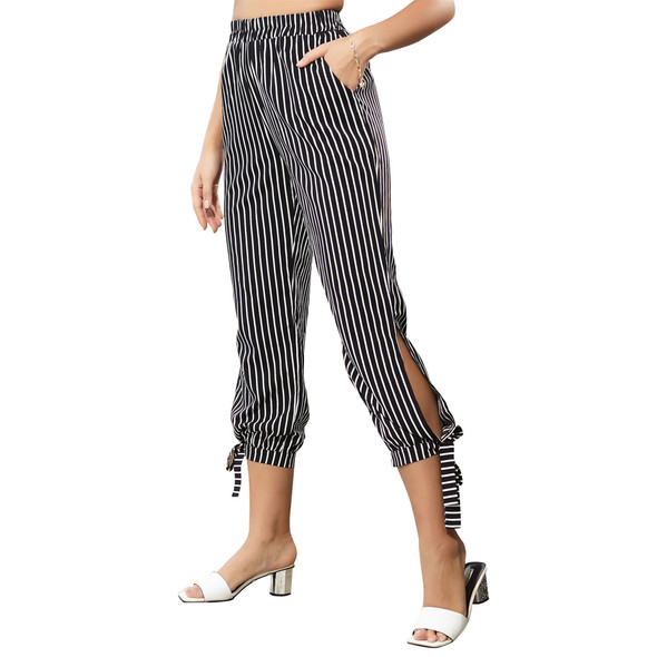 Stripe Cropped trousers Women's High-waist Straight-leg Pants