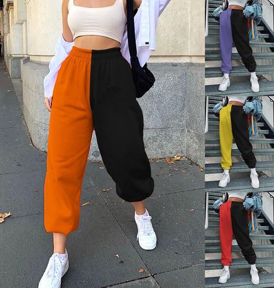 Elastic Mixed Color Women Harem Pants