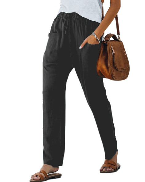 Solid Color Pocket Elastic Waist Trousers