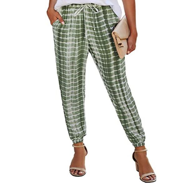 Women Elasticated Trousers Striped Tie-dye Pants