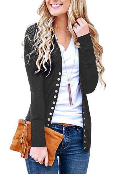 Solid Color V-neck Sweater Long-sleeved Women Knitted Cardigan