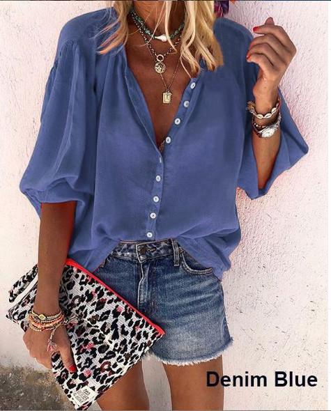 Summer V-neck Button Ladies Shirt