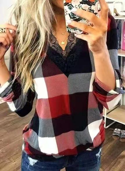 V-neck Lace Blouse Ladies Pullover Plaid Shirt